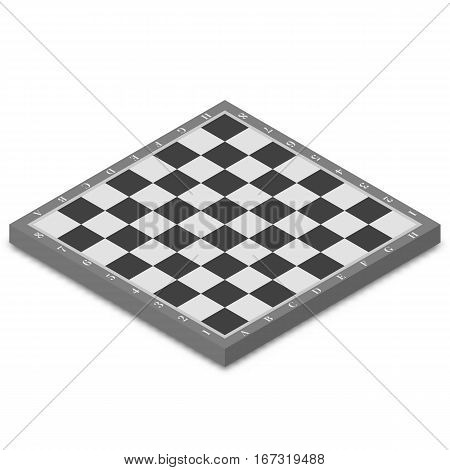 Chessboard isolated on white background. Flat 3D isometric style vector illustration.