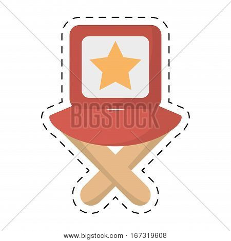director chair star movie film cut line vector illustration eps 10
