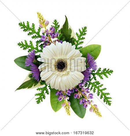 Arrangement with white gerbera and purple flowers isolated on white