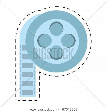 film reel cinema video tape cut line vector illustration eps 10