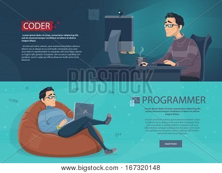 Freelance workplace horizontal banners with working programmers on laptops at home vector illustration