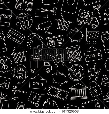 Seamless pattern business, Finance and money-vector illustration. Black background. Online shop, video surveillance and call center.