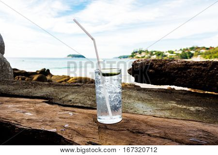 Cold gin & tonic on the beach in Kata Noi Thailand