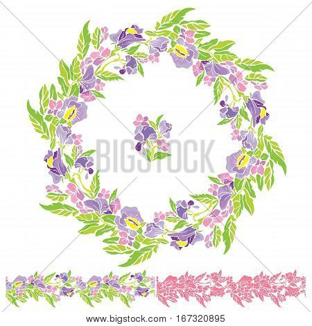 Set of round frame and seamless line ornamen with flowers isolated on white background. Summer or spring design.