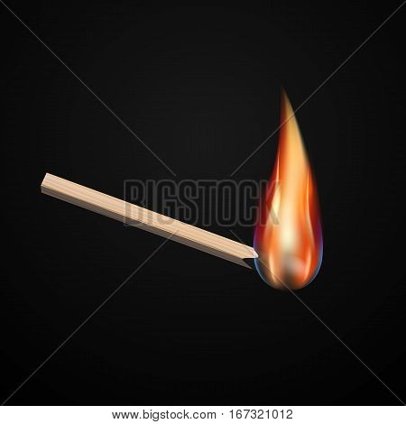 Vector isolated realistic match. burning match on black background.