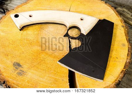 Axe On A Wooden Background Alder.