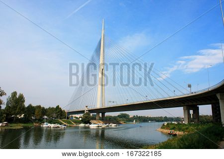 Beautiful Ada bridge in Belgrade - Serbia