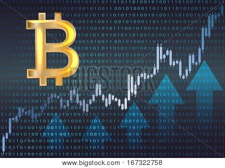 Bitcoin symbol and graph.Vector illustration of a financial.