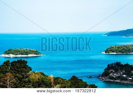 High vantage point view over the coast of Phuket