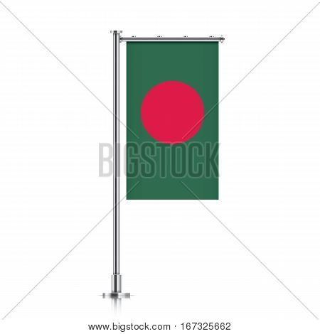 Bangladesh vector banner flag hanging on a silver metallic pole. Vertical Bangladesh flag template isolated on a white background.