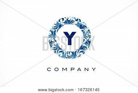 Letter Y Blue Pattern Logo Design.