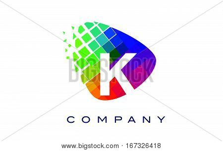 Letter K Colourful Logo. Rainbow K Letter Icon with Shattered Blocks.