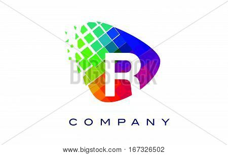 Letter R Colourful Logo. Rainbow R Letter Icon with Shattered Blocks.
