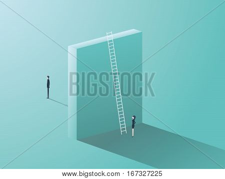 Gender issues in business. Man versus woman inequality symbol with big wall separating them. Eps10 vector illustration.
