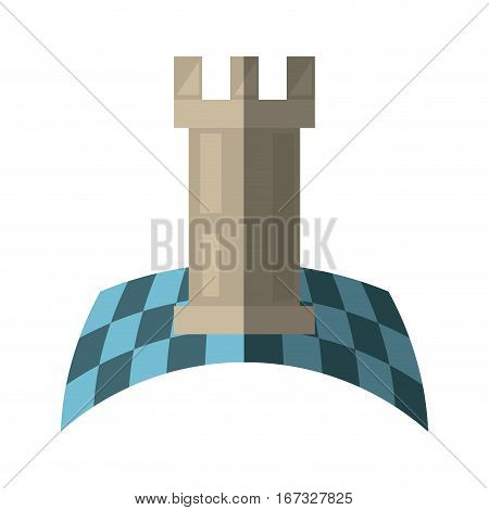 tower strategy chessboard creative shadow vector illustration eps 10