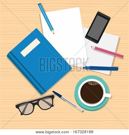 Notebook design vector top view on desk concept, Workspace with office items and business elements on a desk for your design, text, emblem, banner.