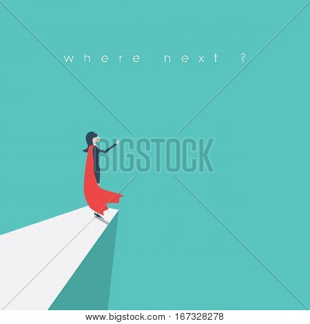 Superhero businesswoman standing on a cliff as a symbol of leadership, inspiration, strength, courage. Female emancipation and empowerment symbol. Eps10 vector illustration.