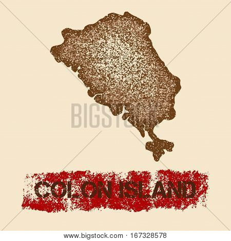 Colon Island Distressed Map. Grunge Patriotic Poster With Textured Island Ink Stamp And Roller Paint