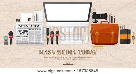 Mass media background in a flat style.Press conference with correspondent and reporter.Broadcasting.Multimedia news, newspaper.Tv show. Internet radio, television. Microphone.