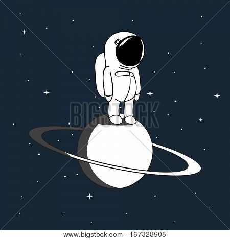 Small astronaut in outer space vector illustration. Spaceman on Saturn explore universe.