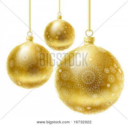 Golden realistische Vektor Weihnachtskugel festgelegt.