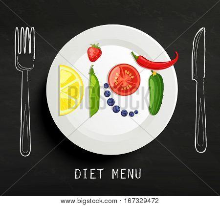 The concept of diet, nutrition, healthy lifestyles - a plate with the word diet with fruits, vegetables, berries on the chalkboard. Vector design for diet menu, cafe, restaurant.