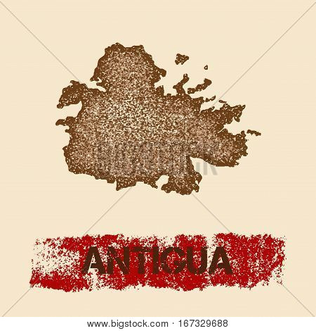 Antigua Distressed Map. Grunge Patriotic Poster With Textured Island Ink Stamp And Roller Paint Mark