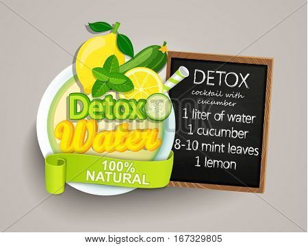 Recipe detox cocktail with cucumber, lemon, water, mint. Vector illustration for diet menu, cafe and restaurant menu. Fresh smoothies, detox, fruit cocktail for healthy life.