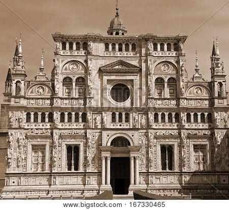 Italian Monastery Called Certosa Di Pavia In Lombardy