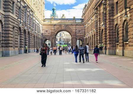 STOCKHOLM, SWEDEN - JUNE 27, 2016: It is a pedestrian passage through the building of the Swedish Parliament from the mainland of city to Gamla Stan.