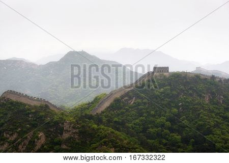 The Great Wall of China at Badaling bad weather