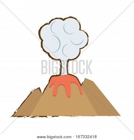volcan eruption lava mountain cloud color sketch vector illustration eps 10