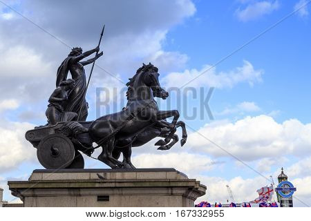 LONDON, GREAT BRITAIN - MAY 9 2014: This is monument to Queen Boudicca - the leader of the Celts the fallen in the defense of London in '61.