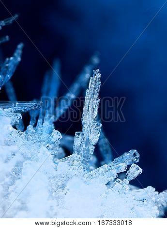 Tubular ice formations frozen winter nature phenomen
