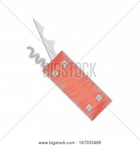 drawing swiss knife multi tool camping vector illustration eps 10