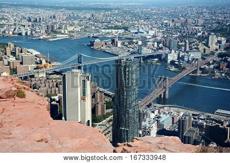 Brooklyn Bridge and Manhattan Bridge, New York City, USA, abstract view from a cliff