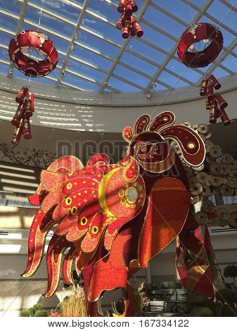 WASHINGTON, D.C. (National Harbor, Maryland) - Jan, 2017. A large red rooster surrounded by red lanterns to celebrate Chinese New Year at the new MGM Grand Resort and Casino.