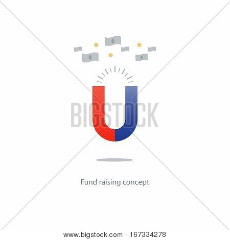 Attracting money, influx of finances, red blue magnet icon, fund raising, vector illustration