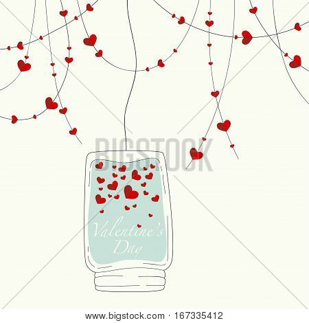 Cover design for the Valentine's Day.Garland with the decorative hearts and glass jar with lots of hearts and the phrase Valentine's day inside on the blue background.