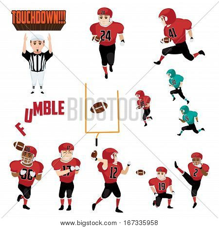 A vector illustration of American Football Icons Cliparts Design Elements
