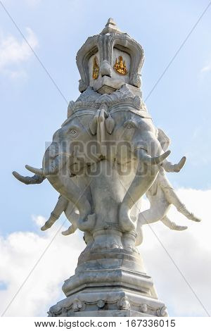 Marble Statue of Four Headed Elephant Attached in Bangkok, Thailand