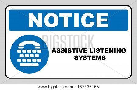 Assistive listening systems sign. Medical consultration sign. White icon on blue sign as background. Isolated on white. Vector illustration with keyboard