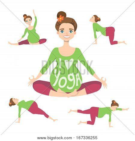Set of Yoga poses for Pregnant women. Prenatal exercise. Vector illustration.