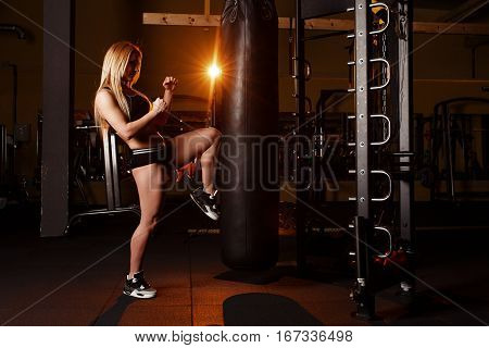 Young Girl Doing Boxing Workout In The Gym. Female Fighter Kicking Punching Bag.