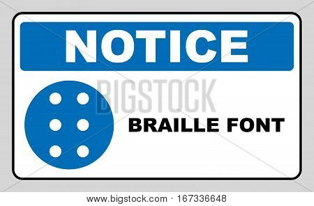 Braille icon, simple style. Blue mandatory symbol for public places. Mandatory, informational banner. Vector