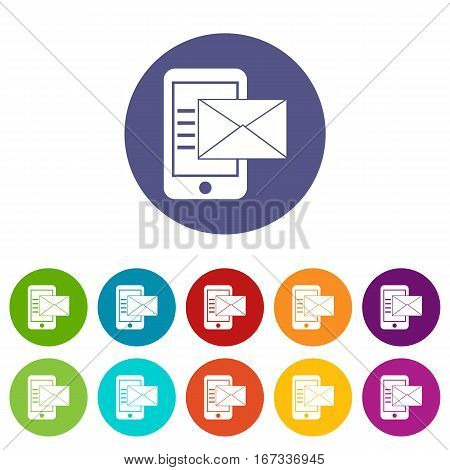 Smartphone with envelope in simple style isolated on white background vector illustration