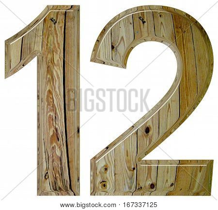 Numeral 12, Twelve, Isolated On White Background, 3D Render