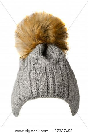 Women's Knitted Hat Isolated On White Background.hat With Pompon. Gray  Hat .