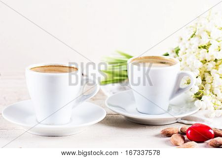 Espresso, Nuts And Bouquet Of Flowers