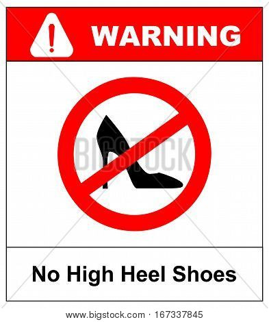 No high heel shoes sign on white background. Vector illustration. Red prohibition circle with silhouette of woman high heel shoes